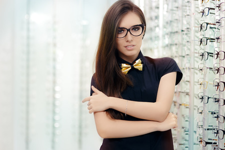 Elegant Bowtie Woman with Cat Eye Frame Glasses in Optical Store