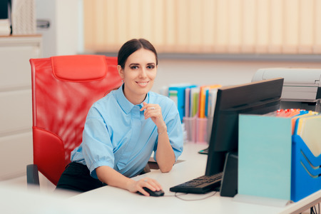 Female Desk Job Office Employee Working To Complete Tasks