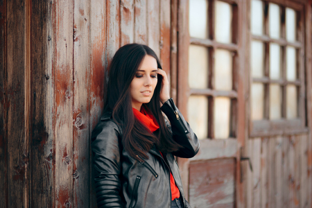 Cool Young Woman Outdoor Portrait Wearing Leather Jacket