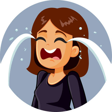 Illustration for Sad Woman Crying Vector Illustration - Royalty Free Image