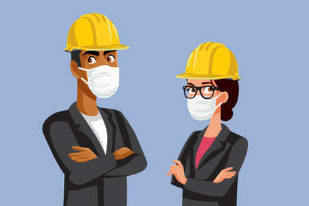 Illustration for Contractors Wearing Hard Hats and Medical Masks - Royalty Free Image
