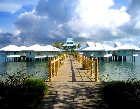 palawan philippines beach resort rooms on stilts on water