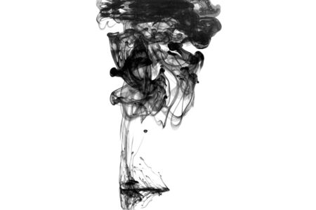 Black Color Drop In Water Photographed In Motion Cloud Of