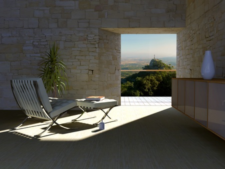 Simple room with a peek towards south of Mallorca