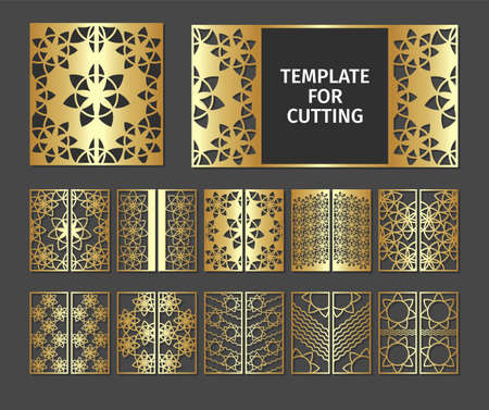 Illustration pour Set of laser cut template. Design wedding invitation, menu, seating plan and greeting card templates with gold marble texture on a black background. Collection luxury stencil for plotter cutting or printing. - image libre de droit