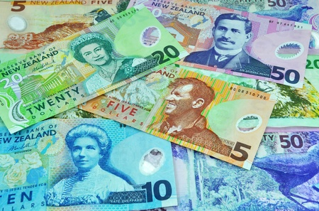 New Zealand currency including five, ten, twenty and fifty notes. Feature famous New Zealanders including Sir Edmund Hillary, Sir Aparana Ngata, Kate Sheppard and the Monarch Queen Elizabeth II.