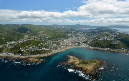 Aerial View of Wellington City from Island Bay  In the foreground are the southern suburbs with the city and harbour in the background