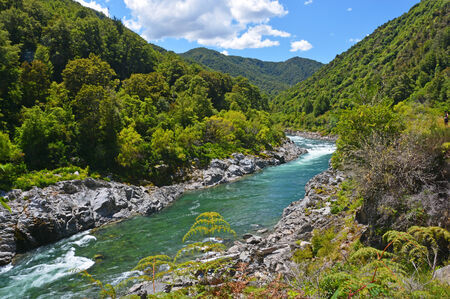 The majestic Buller River entering the Buller Gorge below Murchison  Famous for adventure tourist attractions and trout fishing