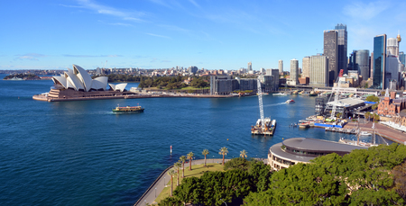 Sydney, Australia - July 18, 2014:  Sydney Harbour, Circular Quay  Opera House Panorama taken from the top of the Harbour Bridge.