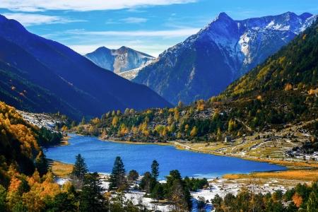 Lake in autumn mountains  Spain, Pyrenees