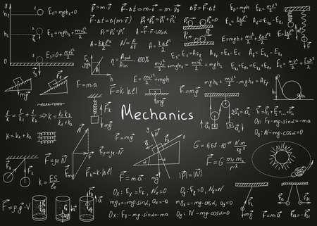 Illustration pour Physics formulas drawn by hand on a black chalkboard for the background. Vector illustration. - image libre de droit