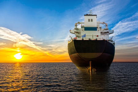 Photo for Big ship view from the stern at sea. - Royalty Free Image