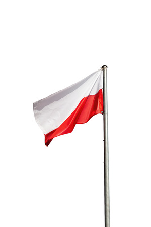 Poland flag in the wind isolated on white background.