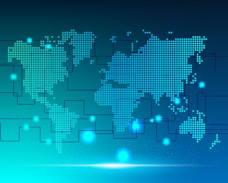 Illustration pour World map cyber bigdata transformation internet network connection business zone online .Vector illustration EPS10 - image libre de droit