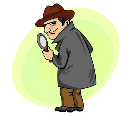 Detective man with magnifying glass in cartoon style