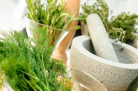 Fresh Herbs and Mortar for spices clode up
