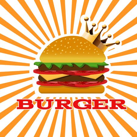 King Burger yellow banner  for your designのイラスト素材