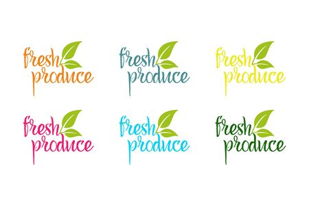 Illustration pour Fresh produce vector logo set in different colors with green herbal leaves - image libre de droit