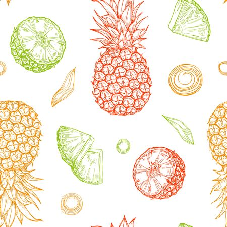Illustration pour Hand drawn colored isolated pineapples seamless pattern on white background. Sketched abstract vector food illustration. Design element for card, print, template, wallpaper, texture, textile, cover. - image libre de droit