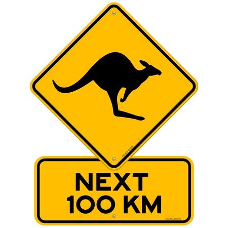 Vektor für Kangaroos Next 100 km - Lizenzfreies Bild