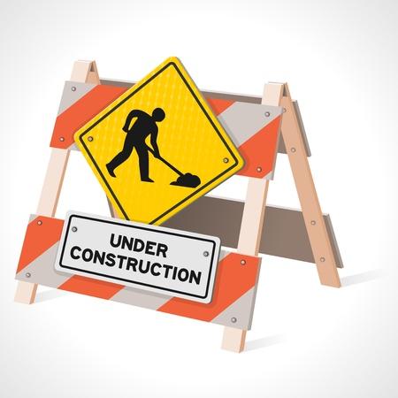 Illustration pour Under Construction Road Sign - image libre de droit
