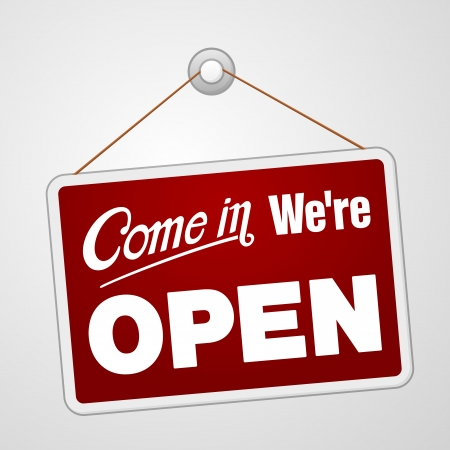 We Open Sign