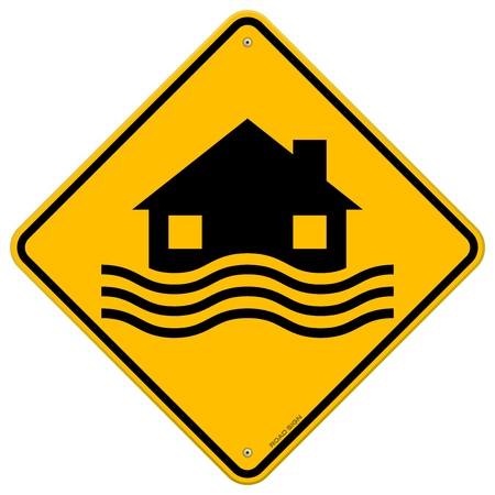 Illustration pour Flood Disaster Yellow Sign - image libre de droit