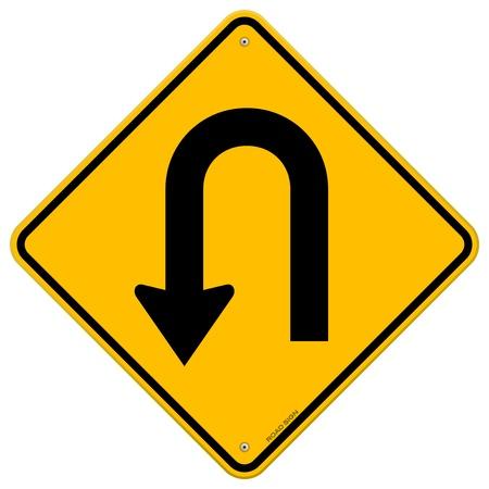 Illustration pour U-Turn Roadsign - image libre de droit