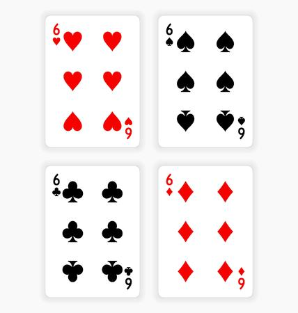 High Angle View of Four Playing Cards Spread Out on White Background Showing Sixes from Each Suit - Hearts, Clubs, Spades and Diamonds