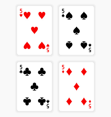 Playing Cards Showing Fives from Each Suit