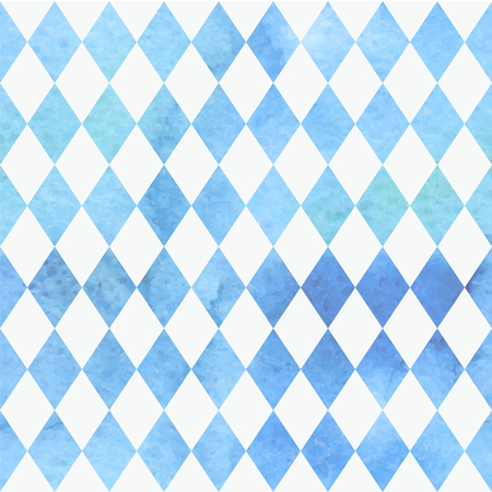 Illustration for Oktoberfest Bavarian watercolor quarreler traditional blue white beautiful background pattern. - Royalty Free Image