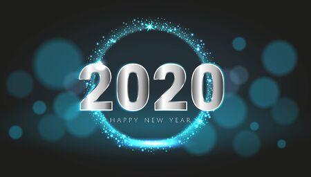 Ilustración de Blue 2020 Happy New Year card with premium bokeh magic texture design background. Festive rich premium luxury design for holiday card, invitation, calendar poster. Happy 2020 New Year text template. - Imagen libre de derechos