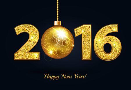 Illustration pour Happy New Year 2016 gold sparkle text - image libre de droit