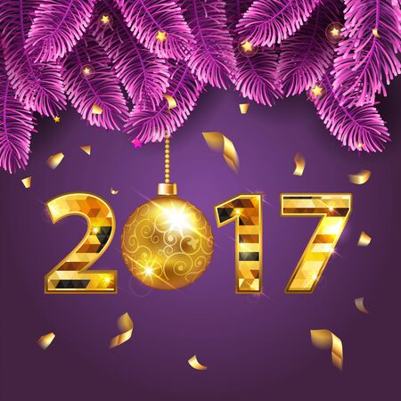 Illustration pour Happy New Year 2017 bright purple banner with fir-tree branches and gold confetti with a sparkle text and shining lights. Rich, VIP, luxury Gold and black colors. Vector illustration - image libre de droit