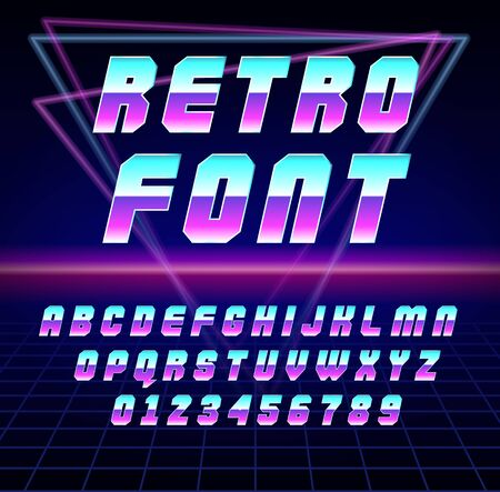 Foto für Shiny Chrome Alphabet in 80s Retro Futurism Sci-Fi style. Vector Retro galaxy space font in the style of the 1980 holographic font. vector illustration abc in neon abstract background - Lizenzfreies Bild