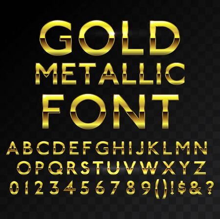 Illustration pour Gold metallic glossy vector font or gold style alphabet. Yellow metal typeface. Metallic golden abc, alphabet typographic luxury premium deluxe text effect isolated in transparent black background - image libre de droit