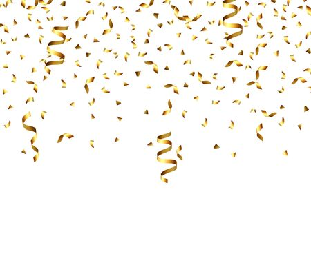 Illustration for Golden explosion of confetti, glitter texture. Golden grainy abstract texture on a black transparent background. Design element. Vector illustration,eps 10. - Royalty Free Image