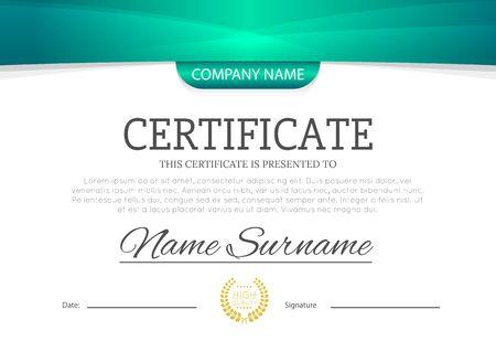 Illustration pour Modern turquoise blue or green color certificate or diploma A4 horizontal template design vector illustration mock-up. - image libre de droit