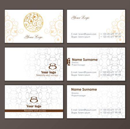 Illustration pour Set business card. Round Ornament Pattern. Vintage decorative elements. Islam, Arabic, Indian, ottoman motifs. - image libre de droit