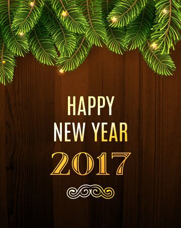 Illustration pour Christmas Greeting Card. Inscription with Christmas and new year 2017 against wooden texture and branches of a New Year's tree Christmas. Vector Illustration. - image libre de droit