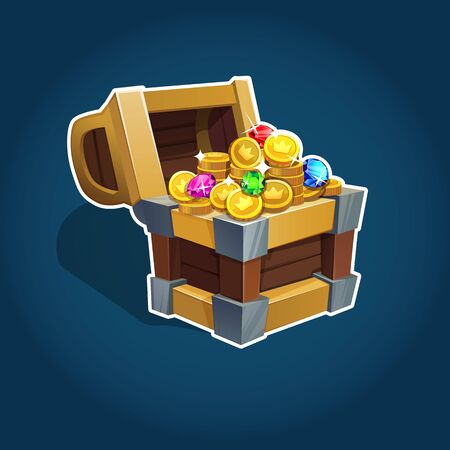 Illustration pour Set of golden coins in chest for game interface. Vector illustration. EPS 10. - image libre de droit