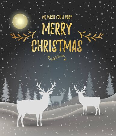 Illustration pour Christmas card. Holiday winter landscape. Winter christmas background with fir tree. Merry Christmas handdraw style lettering . Silhouettes of deer in a winter landscape. Vector illustration. EPS 10 - image libre de droit