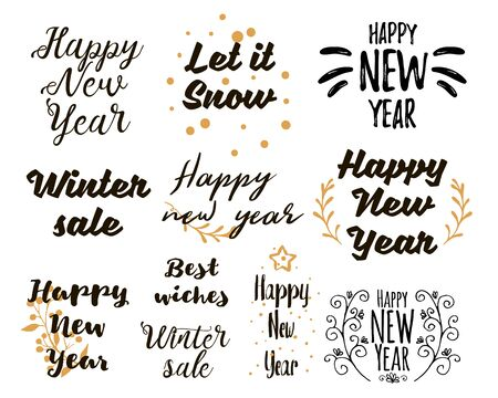 Illustration pour Happy New Year Lettering Design Set. Collections of beautiful New Yearand winter sale title for greeting card, flyer, web, banner. Christmas typography set. Vector illustration - image libre de droit