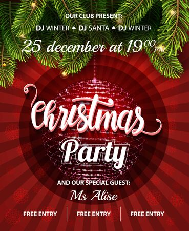 Illustration for Vector Christmas Party design template. Vector illustration EPS10. - Royalty Free Image