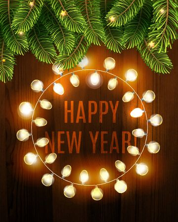 Illustration for Happy new year background with glowing electric garland and fir on the wood texture. Vector Holiday Illustration of Luminous Electric Garland. Winter Decoration - Royalty Free Image