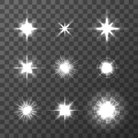 Illustration pour Set of Vector glowing light effect stars bursts on transparent background. Transparent stars. - image libre de droit