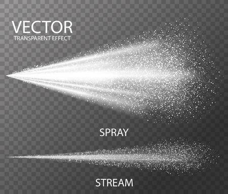 Illustration pour Water spray white fog template for effect , isolated on dark transparent background. Realistic 3d vector illustration - image libre de droit