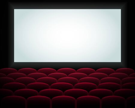Illustration for  Interior of a cinema movie theatre, lecture hall with copyspace on the screen and rows of red cinema or theater seats in front. Empty Cinema auditorium with white screen. Vector illustration. EPS 10 - Royalty Free Image