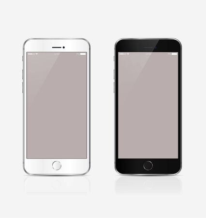 Illustration pour New realistic mobile phone smartphone collection mockups with blank screen isolated on white background. Vector illustration. for printing and web element, Game and application mockup - image libre de droit