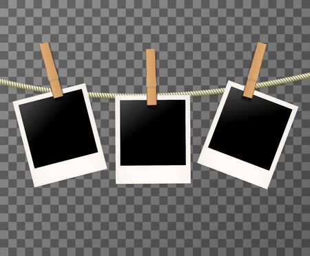 Illustration for Blank Vintage Retro photo frames on the rope or clothespin on the transparent background - vector illustration. - Royalty Free Image